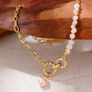 NEW 18K Gold Plated Natural Pearl Circle Link Chain Necklace